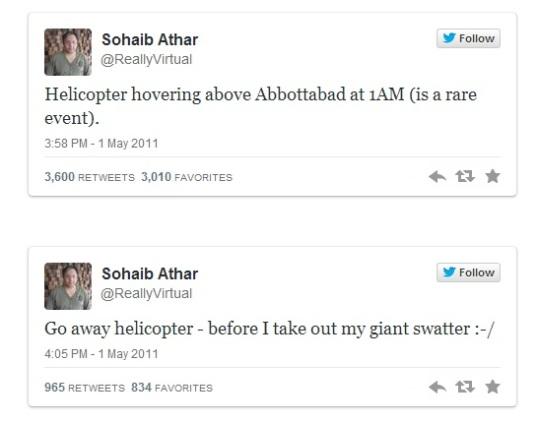 First Tweets of Bin Laden Raid